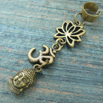 yoga ear cuff   buddha lotus flower ohm om meditation Indie Zen New age Namaste  in gypsy hippie hipster yoga belly dancer  style
