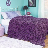 Teen Purple Zebra Print Bedspread [Twin]