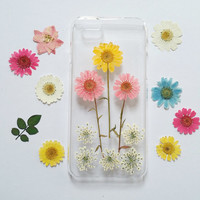 Pressed Flower iphone case,iPhone 6 Case floral, iPhone 6 s Case flower, Floral iPhone 5c Case, Clear iPhone 5 Case, iPhone 5s Case Clear