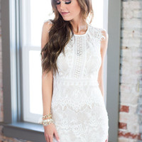 Crystal Clear White Lace Dress