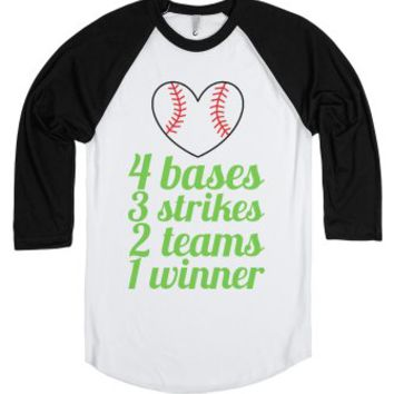 4 bases 3 strikes 2 teams 1 winner-Unisex White/Black T-Shirt