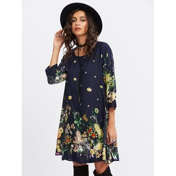 Multicolor Round Neck 3/4 Sleeve Length Shift Dress