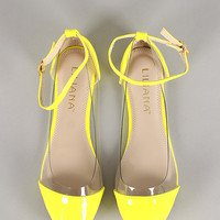 Liliana Suby-2 Neon Lucite Ankle Strap Ballet Flat