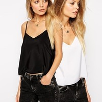 ASOS Cropped Woven Cami Top 2 Pack SAVE 20%
