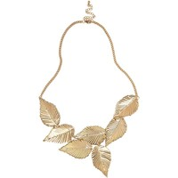 Gold tone short leaf necklace