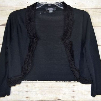 Dress Barn Collection Sz Small Black Shrug Cardigan Sweater Ruffled Trim