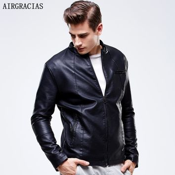 AIRGRACIAS Men PU Leather Jackets Men's Black Red Brown Color Men High Quality Thicken Warm Coats Teens Motorcycles Suede Jacket