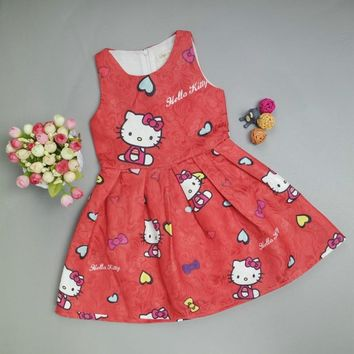 summer Baby Girls Dress Clothes Hello Kitty Dress for Girls birthday Party Princess Dresses Hello Kitty Children Clothing Kids