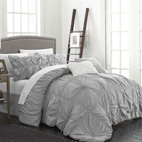 6PC Hannah Silver Ruche Waterfall Pleat Comforter SET