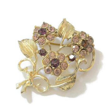 Coro Flower Bouquet Brooch Pin, With Lavender, And Purple Rhinestones, Set in Gold Tone, Designer Signed