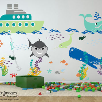 Tug boat adventures nursery wall decal, nursery decals, ocean wall decal, nursery decor, nautical wall decal, kids decor, shark wall decal