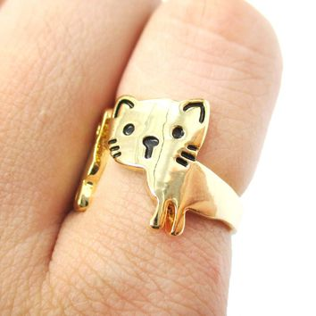 Kitty Cat Shaped Cartoon Animal Wrap Around Ring in Gold | DOTOLY