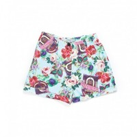 JUKEBOX FLORAL CUFF SHORTS WOMEN / SAX - JOYRICH Store