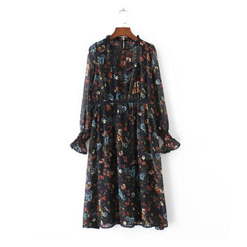 Vintage Ruffled Floral Print Spliced Hollow out Perspective Dress 2017 New Woman 2 Piece Set Long sleeve blusas Flower Dresses