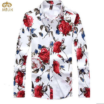 Plus Size Men Floral Dress Shirt 2017 Brand Spring Flannel Casual Long Sleeve Rose Printed Shirts Camisetas Masculinas Autumn