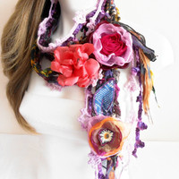 Gypsy Scarf - Boho Scarf - Gypsy Crochet Scarf - Hippie Scarf - Crochet Scarf - Gypsy Love - Unique scarf - Scarf with Colorful Flowers