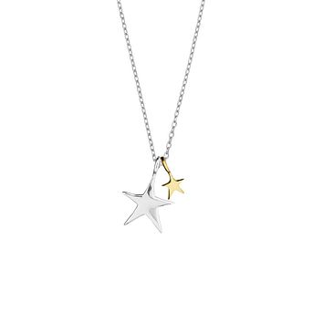 Double Star Necklace - Two Tone