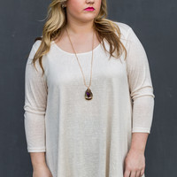 Wintry Nights Plus Size Tunic in Cream