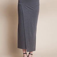 Grey Bodycon Wrap Maxi Skirt