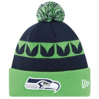 New Era Seattle Seahawks 2013 On-Field Player Sideline Sport Knit Hat - College Navy/Neon Green