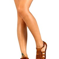 Tribal Layer Fringed Sandal,Tan