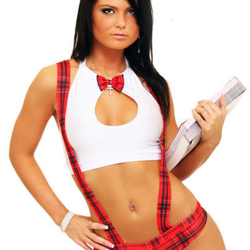 School Girl Costume With Suspenders