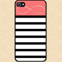 Iphone case Striped Infinity Love Beautiful Pink Stripes Iphone 4 case cool awesome Iphone 4s case