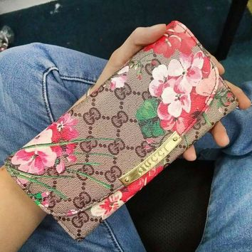 VONEGZ GUCCI Leather Multicolor Wallet Purse Print Flower Satchel Tote Handbag For Women G