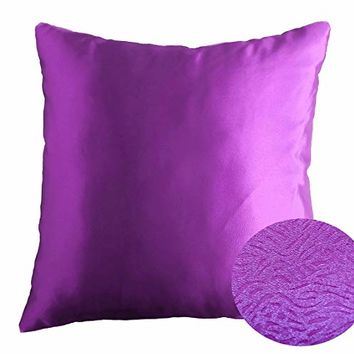 "Bright Violet Purple 18"" x 18"" Decorative Textured Satin Cushion Cover Throw Square Pillowcase for Chair Sofa Home Decor Pillow"