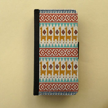 Peru iPhone 4 5 flip case Samsung Galaxy S3 S4 leather wallet, iPhone wallet, book style, Samsung iPhone 5 - Alpaca Peruvian