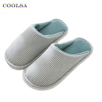 High Quality Winter Men Striped cotton slippers Linen fabric Plush Slides Soft Man Home Slipper Couple Fashion Causal Warm Shoes