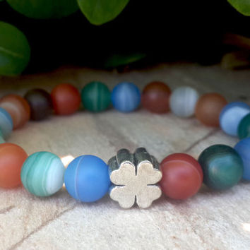 Mens Bracelet, Men's Bracelet, Agate Bracelet, Silver Four Leaf Clover For Men, Good Luck Bracelet, Yoga Mala Protection Energy Bracelet