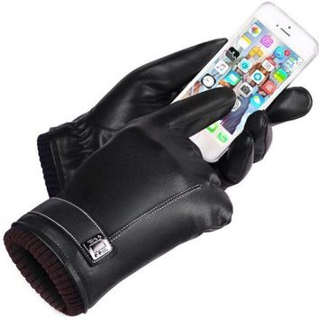 Leather Gloves Warm Couple Lover Screen Gloves Motorcycle Driving Gloves Luvas De Inverno#A11