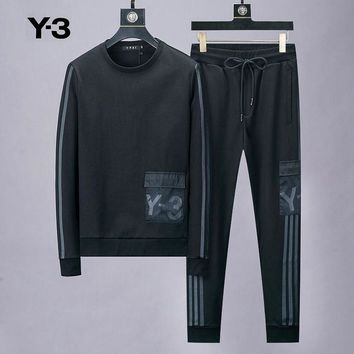 Y-3 popular fashion men and women printed three-stripe round collar long sleeve two-piece suit