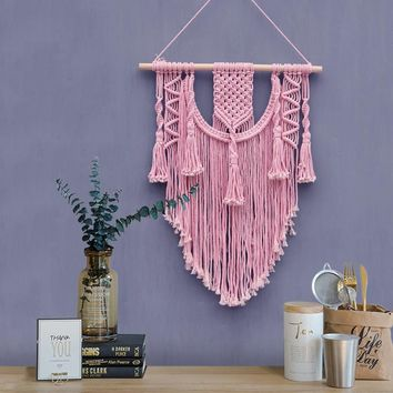 Macrame Wall Hanging Pink Tapestry Wall Hanging Decorative Bohemian Decor