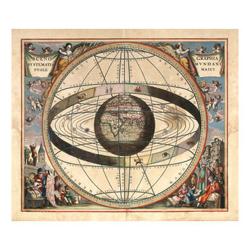 Celestial and Zodiac Chart - Map of the Universe - Ptolemaic Cosmography - Astronomy Astrology Art - Old Maps and Prints - Art Giclee
