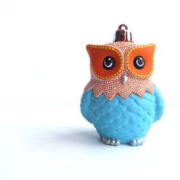 Blue and Orange Owl Ornament: Shatter Resistant Hand Painted plastic Owl Ornament Blue and Orange