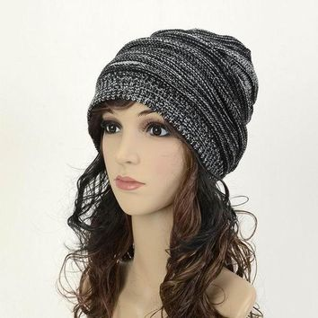 Winter Casual Cotton Knit Hats For Women Baggy Beanie Hat Crochet Slouchy Oversized Ski Cap Warm Skullies