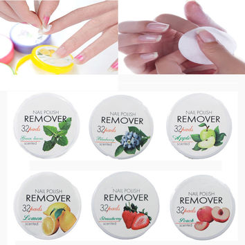 Nail Tools Non-Toxic Nail Polish Remover 32 Pads Fruit Polish Remover Cotton Nail Clean Wipes Beauty Tools