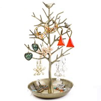Dazone Birds Tree Jewelry Stand Display Earring Necklace Holder Organizer Rack Tower