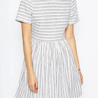 ASOS Natural Fibre Stripe Skater Dress at asos.com