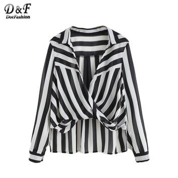 Dotfashion Office Blouses Women Work Wear Shirt Black And White Striped Drape Front Lapel Long Sleeve High Low Blouse