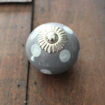 Drawer Knob / Cabinet Pull Ceramic Ball in Grey with white Polka Dots and silver hardware (CK26)