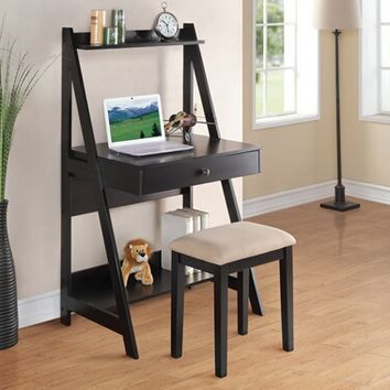 A.M.B. Furniture & Design :: Office Furniture :: Desks :: 2 pc Black finish wood leaning wall desk with shelves and drawer with stool