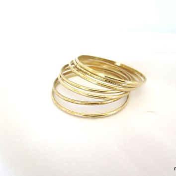 Seven Gold Bangles, Set of Seven Hammered Brass Bangles, Gift for Her