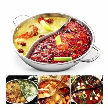 Hot Pot Twin Divided Stainless Steel 28cm Cookware Induction Little Sheep Hot Pot Ruled Compatible Soup Stock Pots Home Kitchen