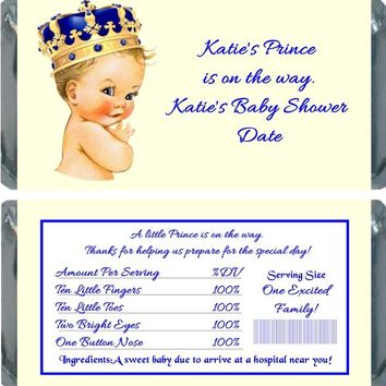 10 Prince Baby Shower Chocolate Bar Wrappers Light Skin