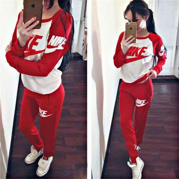 DCCKJG8 Women Print Top Sweater Sweatshirt Pants Sweatpants Set Two-Piece Sportswear