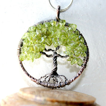 Peridot Tree Of Life Necklace, August Birthstone, Valentines Gift, Family Tree,Copper and Sterling Silver Tree Of Life Pendant