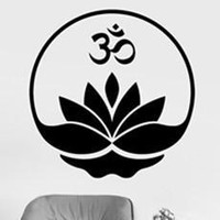 Om Lotus Meditation Wall Sticker Decal Floral Vinyl Removable Art